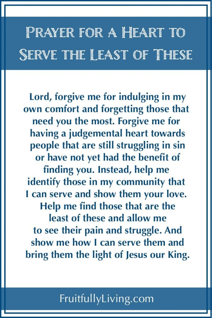 Prayer for a heart to serve the least of these