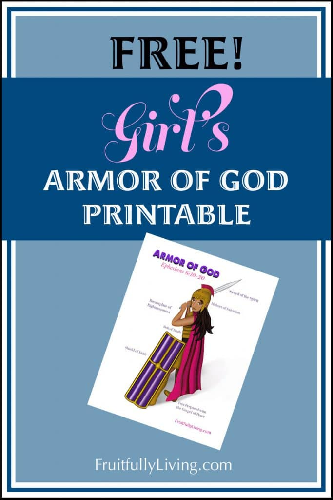 Free Girls Armor of God Printable bc Girls are warriors image