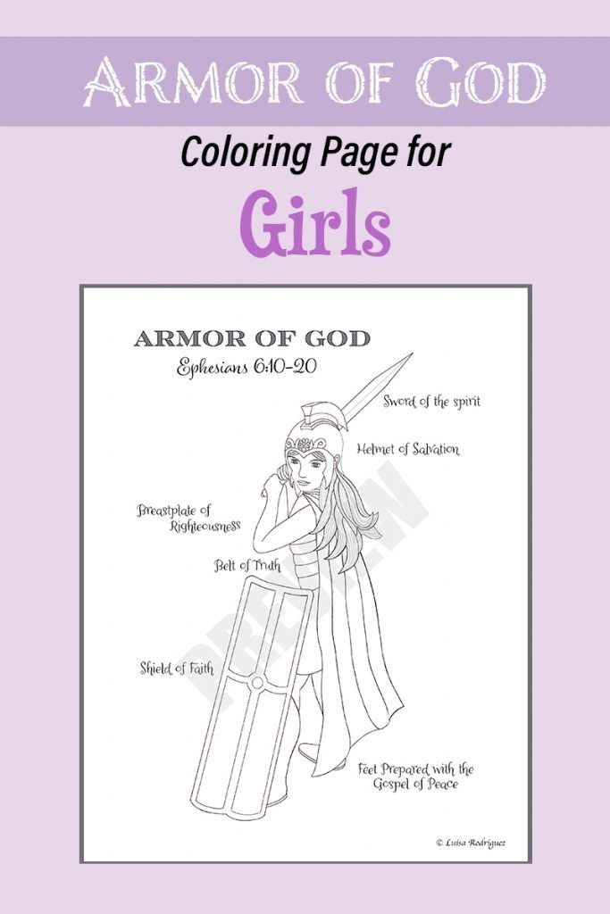 Armor of God for Girls Coloring Page