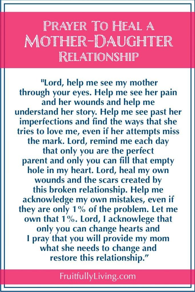 Prayer to heal broken mother daughter relationship.