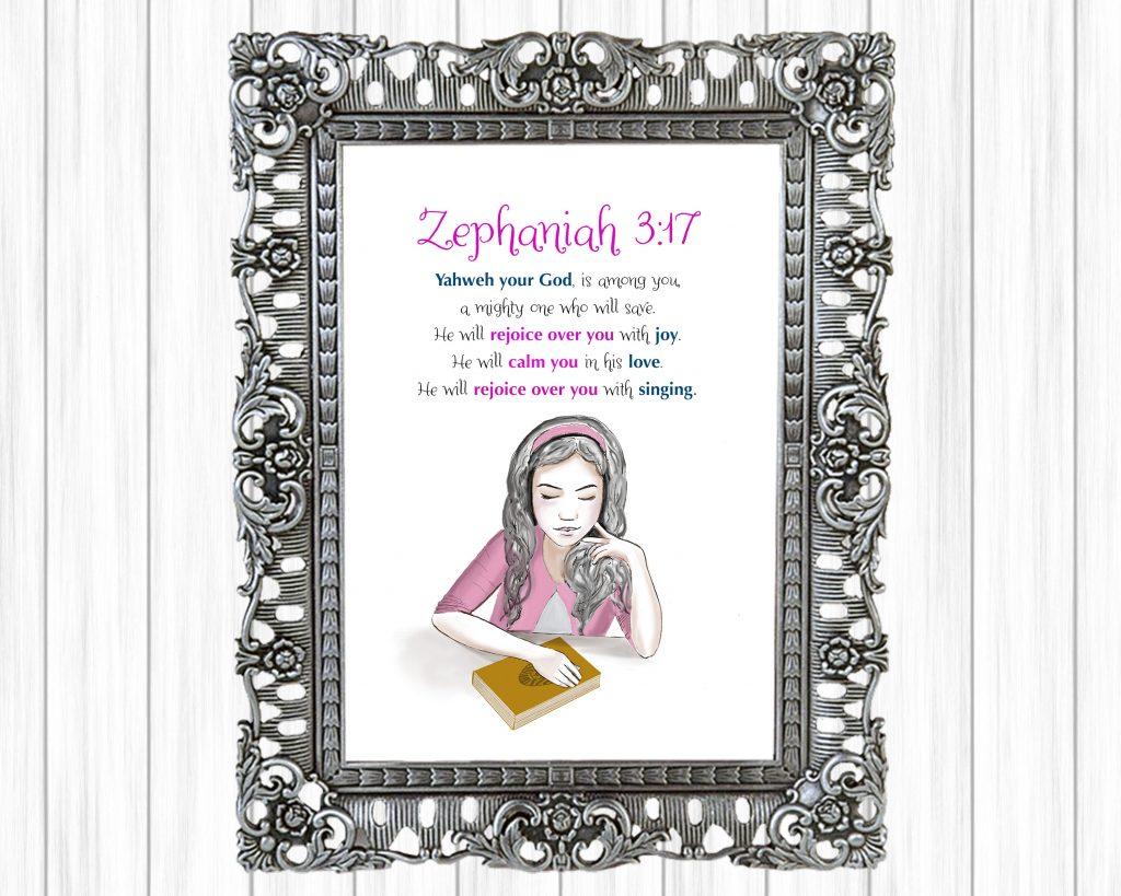 Zephaniah 3:17 wall art for girls