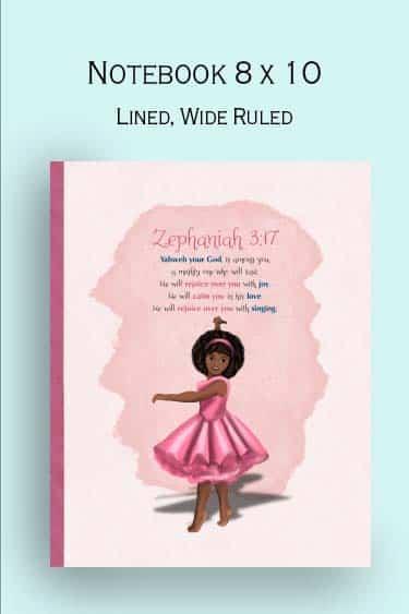Christian  gift for girls, african american ballerina, Zephaniah  3:17
